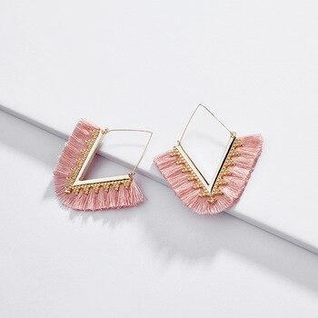 Wing yuk tak Bohemia Tassel Hoop Earrings For Women Vintage Golden Statement Jewelry 1