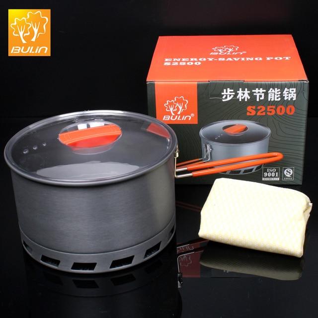 Булин 2.1L Кемпинг теплообменник горшок Открытый портативный посуда для пикника быстрый нагрев чайник Складная ручка горшок 2-3 человек