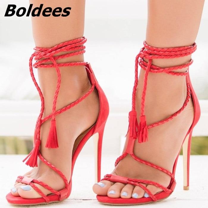 Heel rojo Tejida Franja Aguja Rojo Punta Pu De Abierta negro Tacón Zapatos Up Beige naranja Cuero Sandalias Borla Recorte Lujo Encaje Sexy Elegante Thin Sandalia dwXSwAq