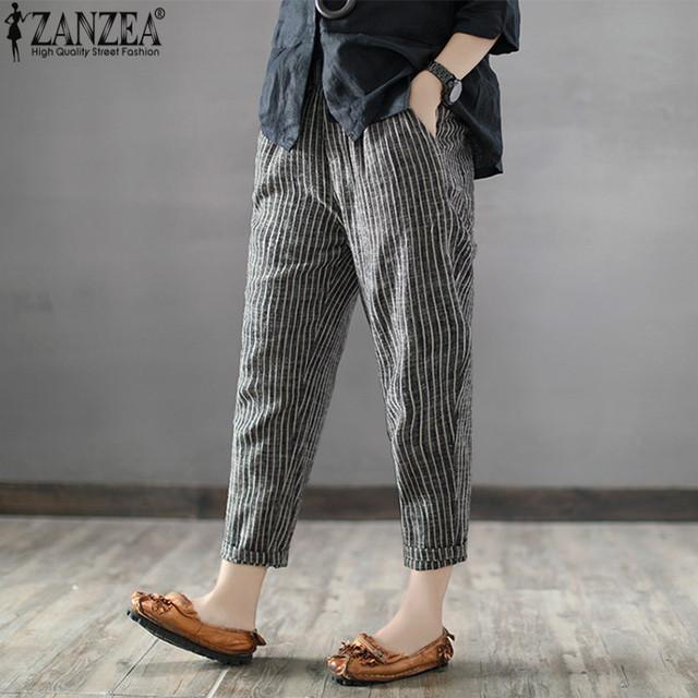 2018 ZANZEA Women High Elastic Waist Long Stripe Harem Pants Loose Trousers Cotton Linen Pencil Pantalon Casual Turnip Plus Size