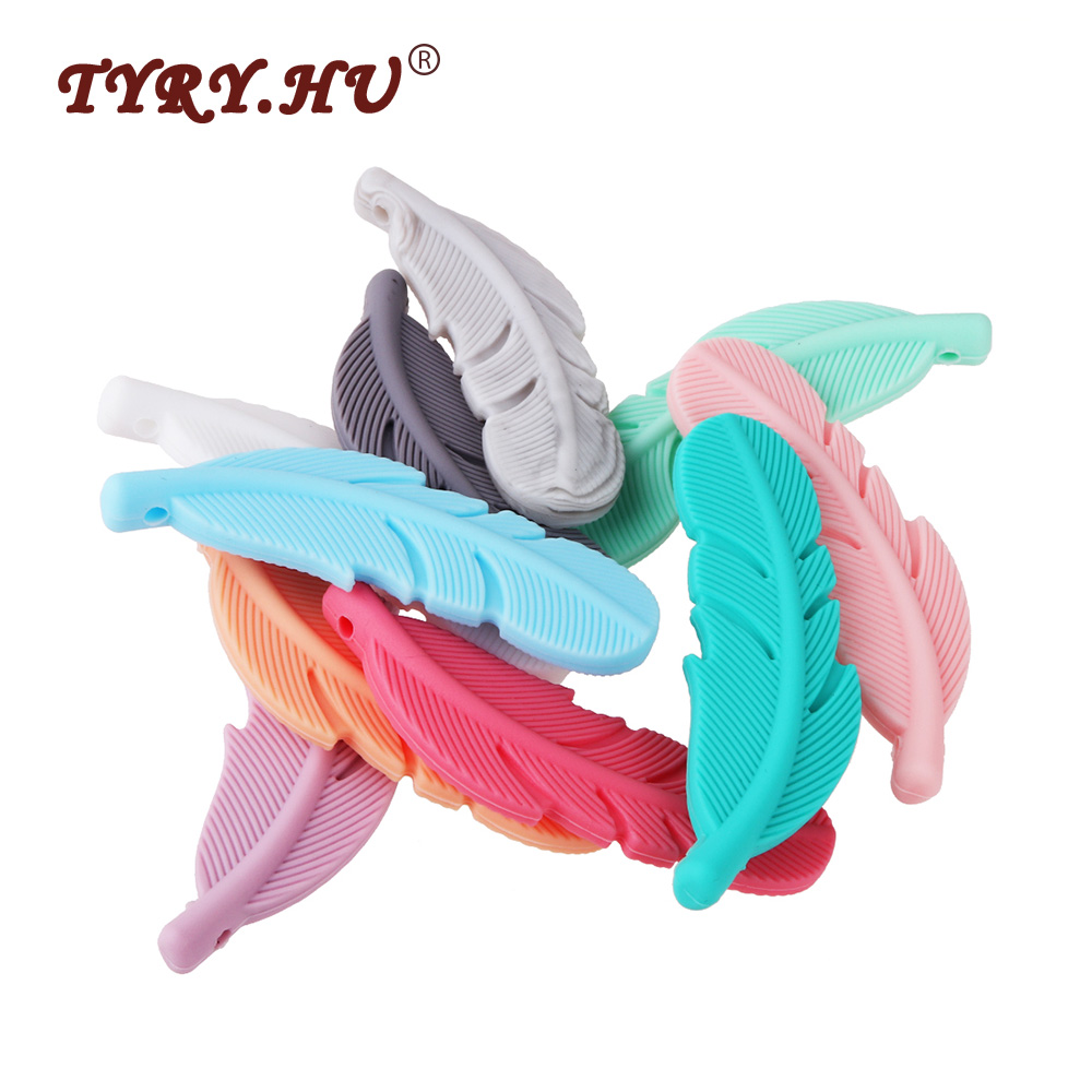 TYRY.HU 5Pcs Feather Silicone Beads Baby Teethers BPA Free Chewable Necklace Pendant Food Grade Baby Teething Beads Shower Gifts