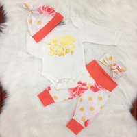 2018 Baby Girl Clothes 4pcs Sets White Cotton Letter Printed Rompers Dot Pant Headband Newborn Clothes
