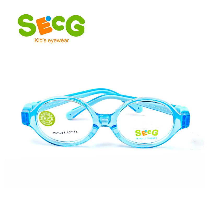 SECG Peuter Baby Ronde Leuke Flexibele Kids Frame Zachte Ultralight Afneembare Kinderen Frame Siliconen Neus Pads Dioptrie Brillen