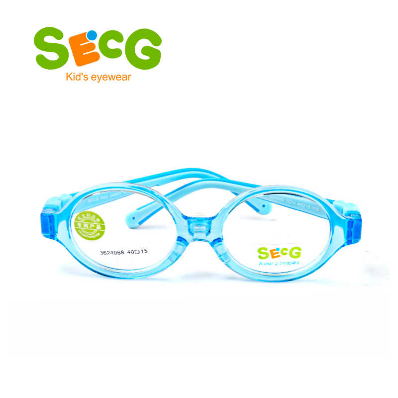 SECG Toddler Baby Round Cute Flexible Kids Frame Soft Ultralight Detachable Children Frame Silicone Nose Pads Diopter Eyeglasses