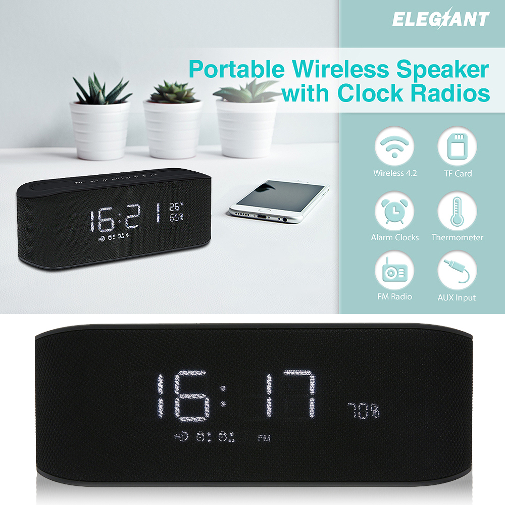 10W Digital LED Alarm Clock With FM Radio Wireless 4.2 Bluetooth Speaker Support Aux TF USB Music Player Clock