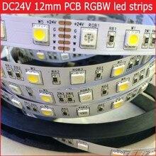 DC 24V RGBW led strip light 5050 SMD 5M 300 led flexible tape rope stripe light 12mm PCB RGBWW RGB warm white Waterproof(China (Mainland))