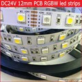 DC 24V RGBW led strip light 5050 SMD 5M 300 led flexible tape rope stripe light 12mm PCB RGBWW RGB warm white Waterproof
