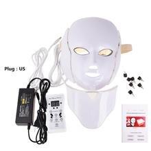 7 цветов светодиодный свет маска для лица фотоомоложение спектра анти-акне терапии кожи затянуть инструмент с шеи набор маска лицо автомобиля