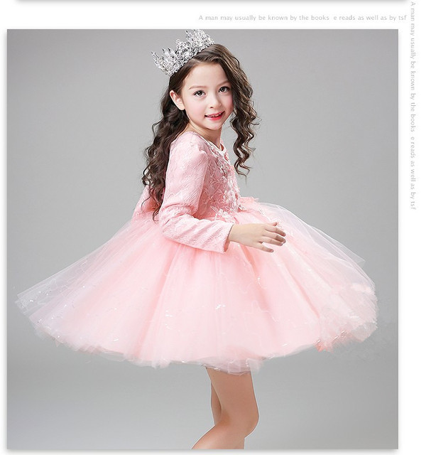 High Quality sequin Pink baby girls long sleeve 1 year old birthday dress  baptism christening wedding dresses for infant f18fc6fb13b9