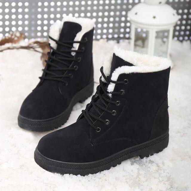 2016 Mujeres de Moda Las Botas de Nieve de Invierno Botas de Mujer Zapatos de Plataforma Botines de Piel Damas Zapatos de Tacón Negro
