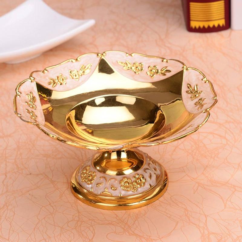 Assiettes européennes rondes en Or brillant | Assiette à fruits, assiette à Dessert, plateau à fruits doux plats à fleurs pour le mariage ou la fête - 3