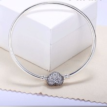 Real 925 Sterling Silver Bead Charm Pave Heart Clasp With Crystal Beads Fit For Pandora Jewelry Bracelet Bangle DIY pulseras
