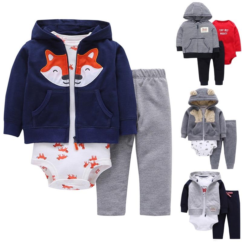 New Born Baby Boy 3pcs Clothes Set Hooded Jacket + Romper + Long Pants Boy Girl Clothing New Cotton Soft Bebes  Infant
