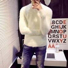 Mens Christmas Sweater Fall 2015 New Mohair Pure Color Men Warm Sweater Cotton Mens Sweaters Slim Cashmere Sweater Men