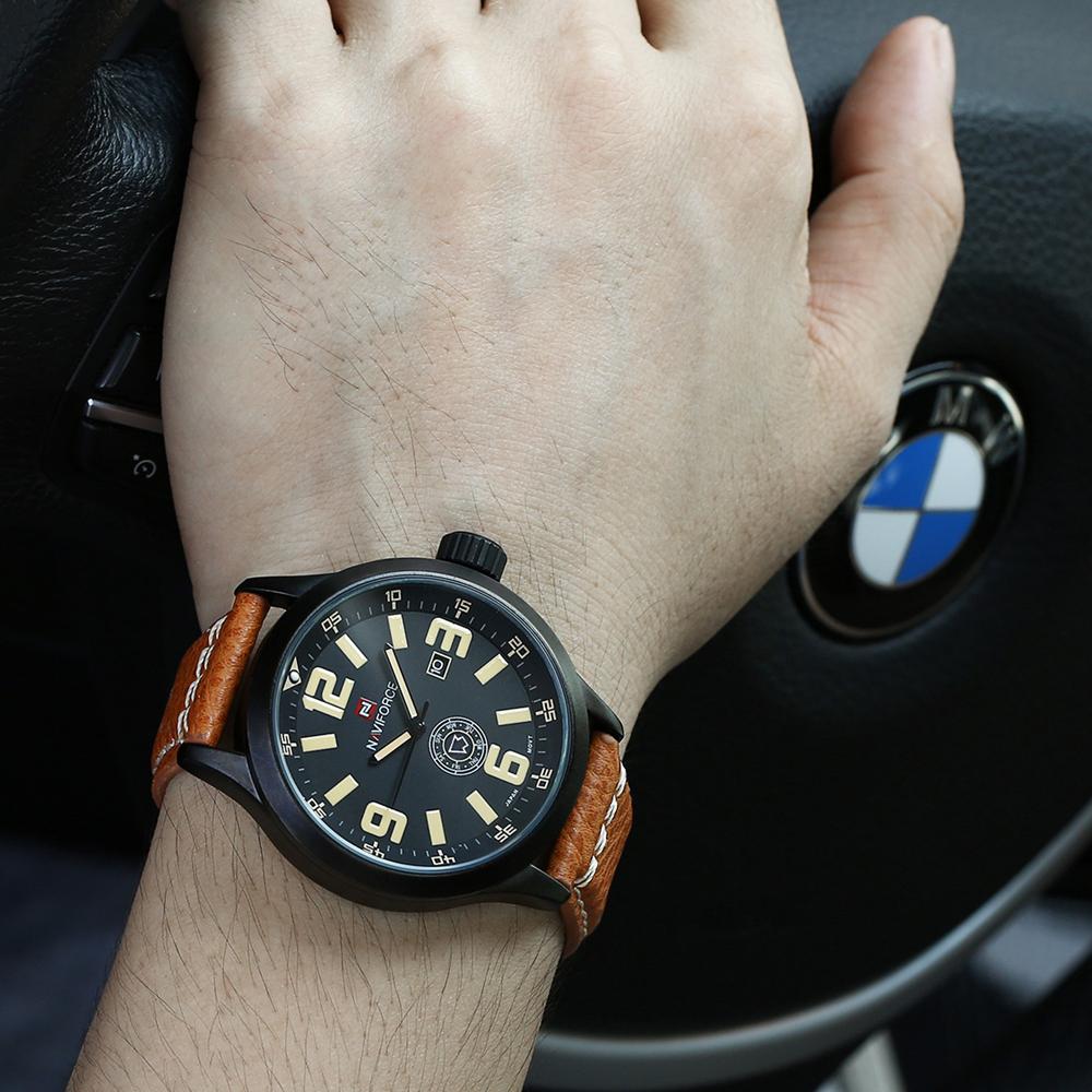 Prix pour Montres hommes NAVIFORCE marque Quartz montre En Cuir De Mode Casual reloj hombre Armée Militaire Sport montre-bracelet relogio masculino