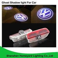 2 pc promoção logo luz porta Do Carro LEVOU LUZ de Cortesia Porta do carro Logo Luz Do Projetor Santo Sombra Luz para Volkswagen