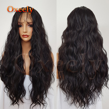 Oxeely Super Wave Synthetic Lace Front Wig #4 Color Long Wavy with Natural Baby Hair Line Glueless Long Hair Heat Resistant