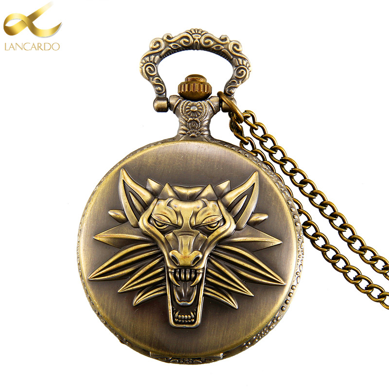 Lancardo 2017 Vintage Werewolf Bronze Quartz Pocket Watch Mens Womens Necklace Pendant Analog Wolf Watch cindiry new bronze assassin s creed sci fi movie quartz pocket watch analog pendant necklace mens womens watches chain gift p19