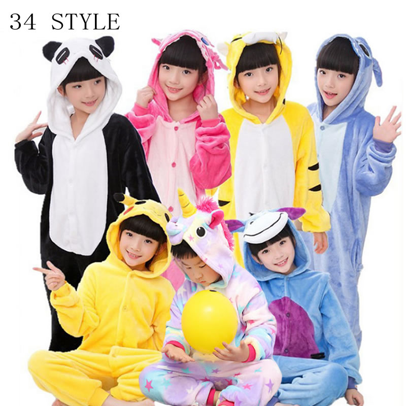 winter girl boy children   pajamas   baby onesie kids   pajama     set   animal cartoon sleepwear stitch panda pink unicorn hooded kigurumi