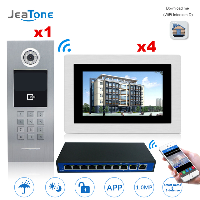 7 Touch Screen WIFI IP Video Door Phone Intercom +Switch 4 Floors Building Access Control System Support Password/IC Card