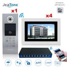 Видеодомофон с 7 дюймовым сенсорным экраном, Wi Fi, IP, с выключателем, 4 этажная система контроля доступа в здании, поддержка пароля/IC Карты