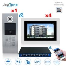 7 インチのタッチスクリーン Wifi IP ビデオドア電話インターホン + スイッチ 4 床建物のアクセス制御システムサポートパスワード /IC カード