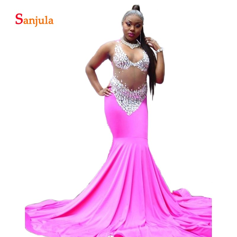 Sparkly Beaded Mermaid Spandex   Prom     Dresses   Long V Neck See Though Top Sexy Fuchsia   Prom   Gowns formatura vestido D984