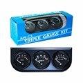 Black 2inch 52MM Triple gauge kit 3in 1 (0-100 Psi Oil pressure gauge + Fahrenheit water temp +Voltmeter)Sensor 52mm Car Meter