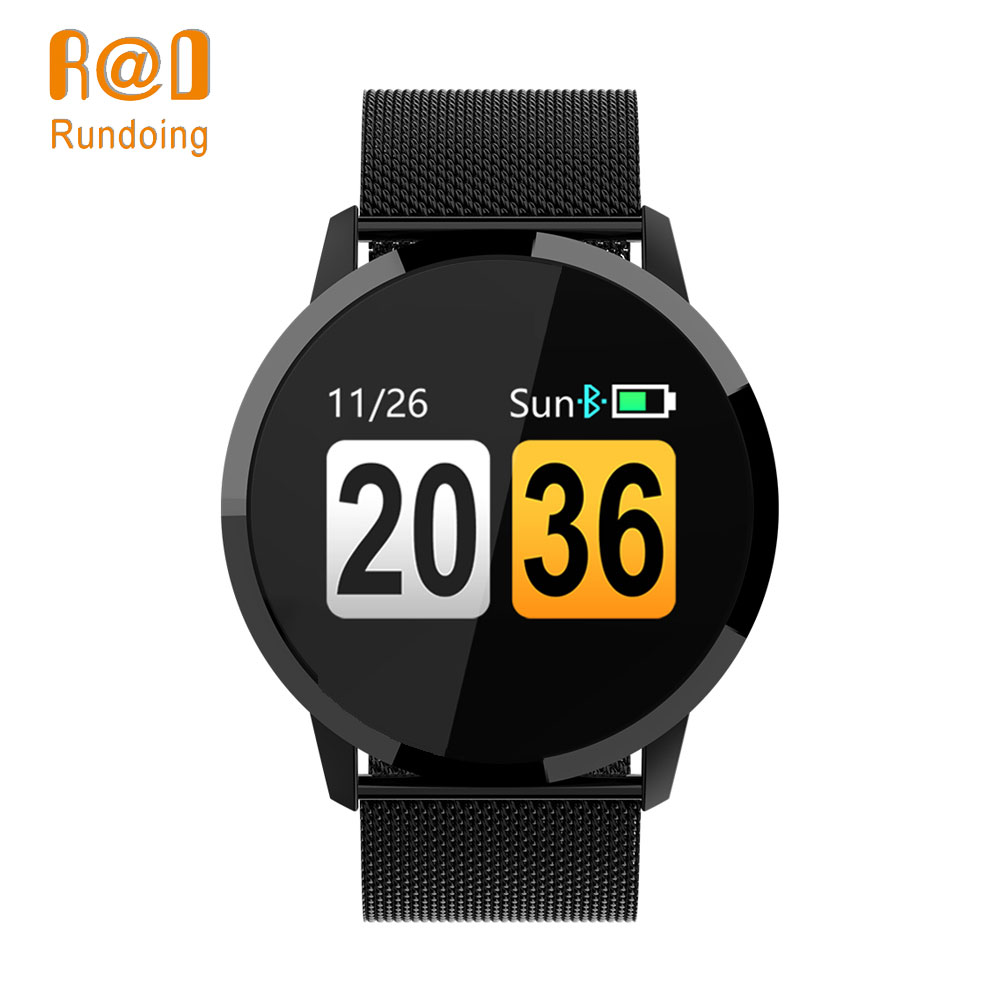 Rundoing Q8 Tela Colorida OLED Smartwatch Relógio Inteligente homens Da Moda de Fitness Rastreador Heart Rate