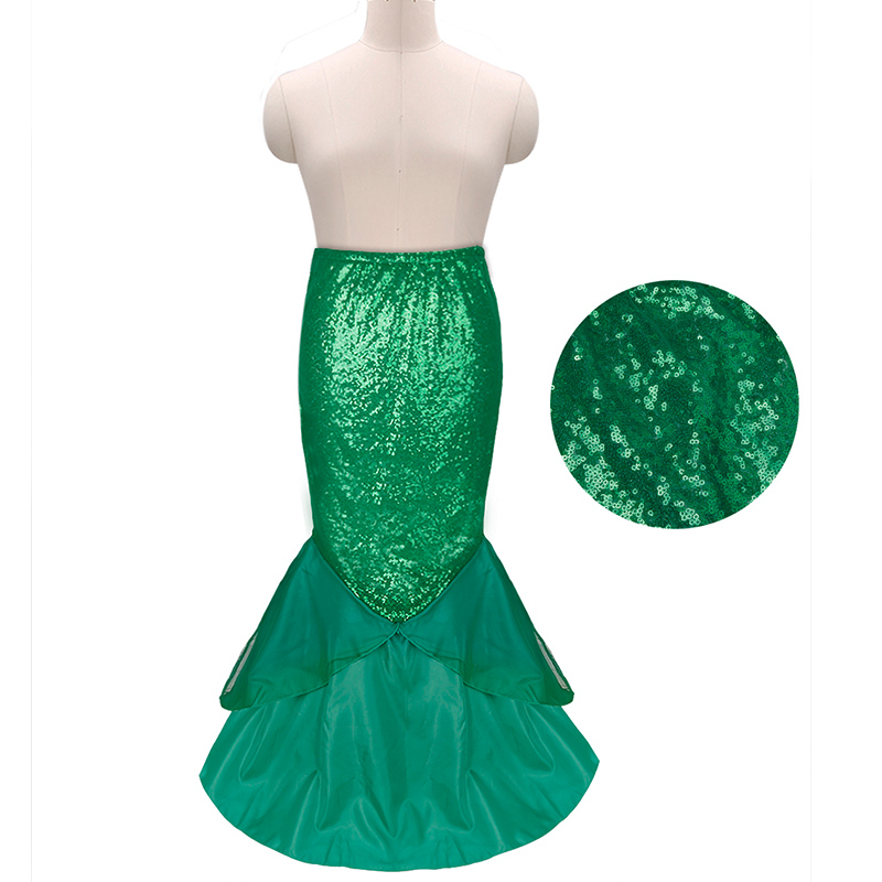 Image 5 - YiZYiF Sequined Mermaid Skirt Halloween Cosplay Mermaid Costume Maxi Skirt Anime Little Mermaid Ariel long green Skirt Women-in Movie & TV costumes from Novelty & Special Use