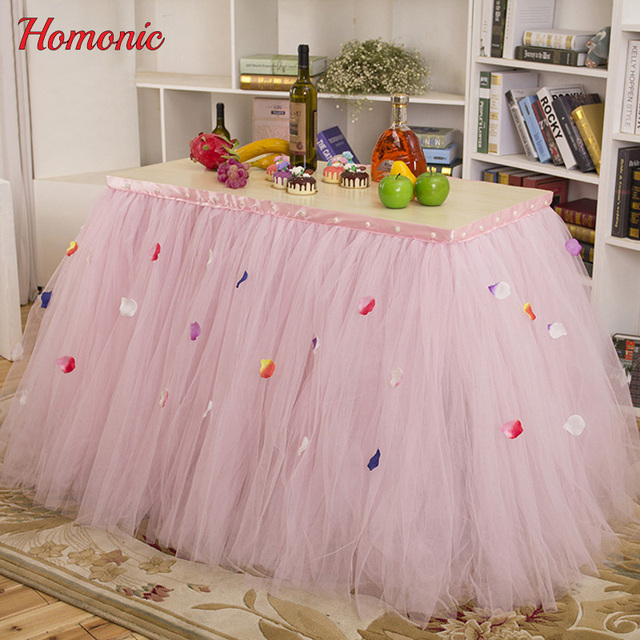 table skirt pink tulle table skirt pleat style wedding hotel table decoration tablecloth