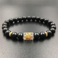 New Design DIY Matte Black Natural Stone Mantra Beads Buddha Bracelet for Women and Mens