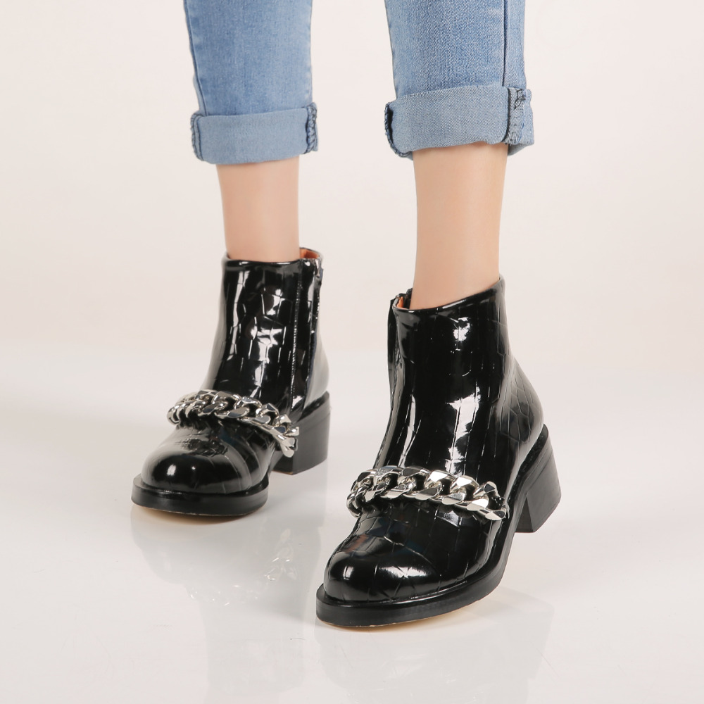 Gold/Silver Metal Chain Decorated Zipper Boots Chunky Heel Leather Shoes Women Spring Autumn Black/Red/White Ankle Boots universe pearl decorated elegant women ankle boots black suede leather chunky heel dress boots g404