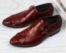 ff9054524f61a Sukienka buty męskie kupon na klamry pasek z prawdziwej skóry inteligentne  obuwie alligator druku wskazał palce