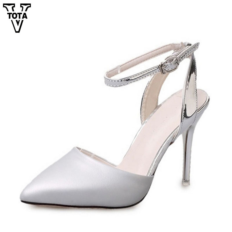Fashion High Heels Summer Shoes Woman Pointed Toe Ankle Strap Women Pumps Wedding Party Women's shoes Sapatos Femininos FC05 new spring summer women pumps fashion pointed toe high heels shoes woman party wedding ladies shoes leopard pu leather