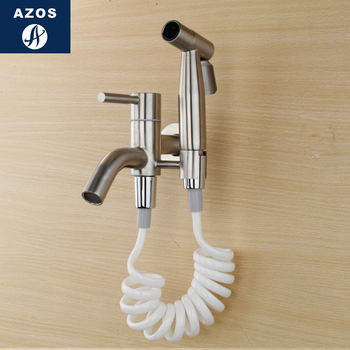 Azos Bidet Faucet Pressurized Sprinkler Head Stainless Steel Stainless Steel Cold Water Two Function Washing Machine Pet Bath Sh