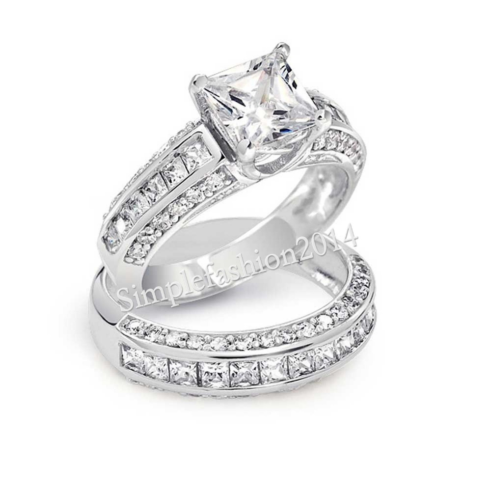new jewelry lovers princess cut stone 5a zircon birthstone 10kt white gold filled wedding ring set
