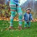 Рождество Семья Соответствующие Наряды Мать дочь брюки 2017 ЕС тополь Лайкра ноги отпечатано Леггинсы Мама и я мода WT5001