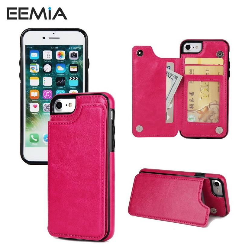 10PCS Phone Cases For iPhone 8 Plus Cover TPU+PU Leather Magnet Wallet Stand Case For iPhone X(10) 8 7 6 6S Plus Card Slot EEMIA