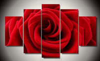Painted Red Rose Oil Painting Reproductions 5 Piece Abstract Canvas Art Almond Flower Picture Modern Wall