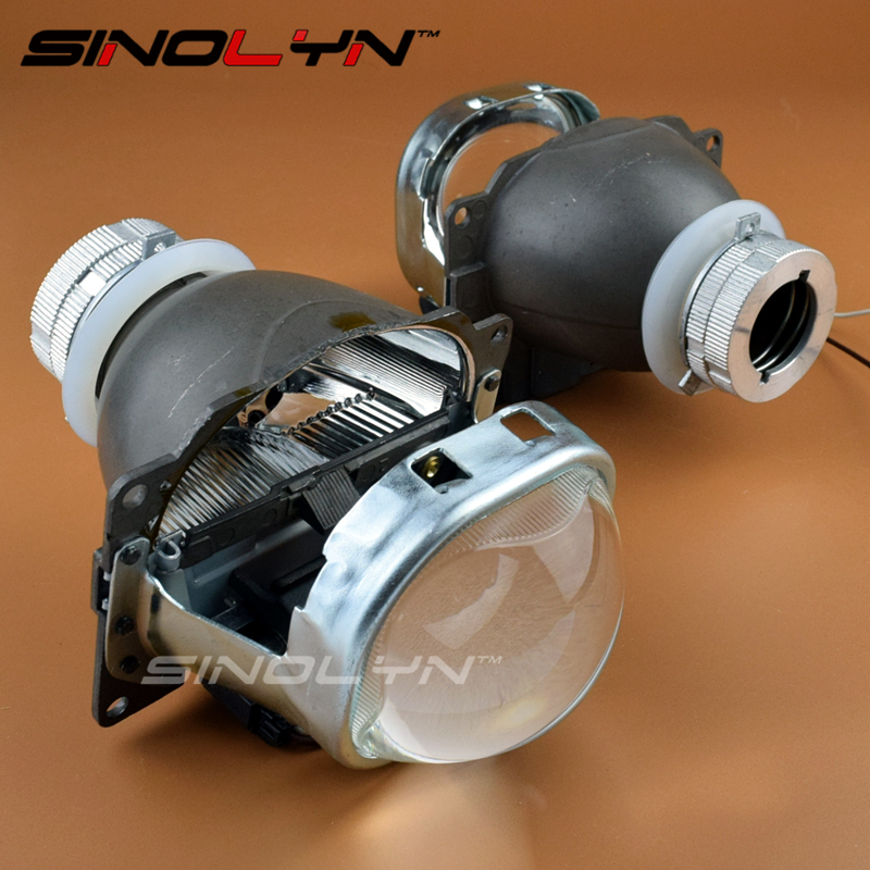 SINOLYN Car Styling Q5 HID Square Bi xenon Lens Projector Headlight Full Metal Headlamp Xenon Lenses Use D2S D2H Bulbs Tuning 2 5 mini bi xenon projector lens can use with d2s d2h hid xenon bulb for h4 car headlamp easy install