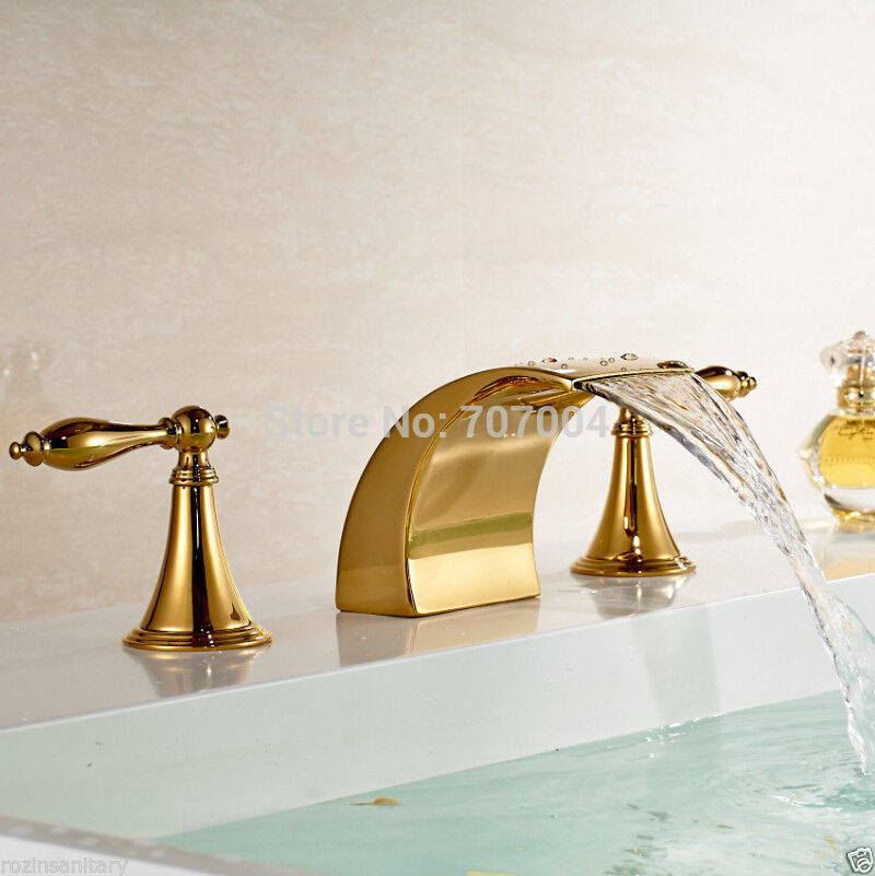 Free Shipping Wholesale And Retail luxury Deck Mounted Widespread Golden 3 pcs Bathroom Basin Faucet Dual