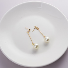 Hot style Korean jewelry pearl earrings simple joker long