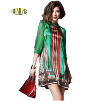 European Style Summer Dress Women 2016 New Fashion Elegant Vintage Pattern Green Print Dresses For Lady
