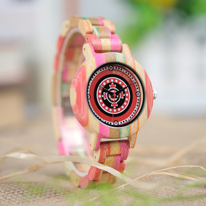Image 4 - BOBO BIRD WP08 Colorful Bamboo Wood Watch for Women Print Dial Face Wooden Band Quartz Watches as Gift Accept OEM Dropshipping