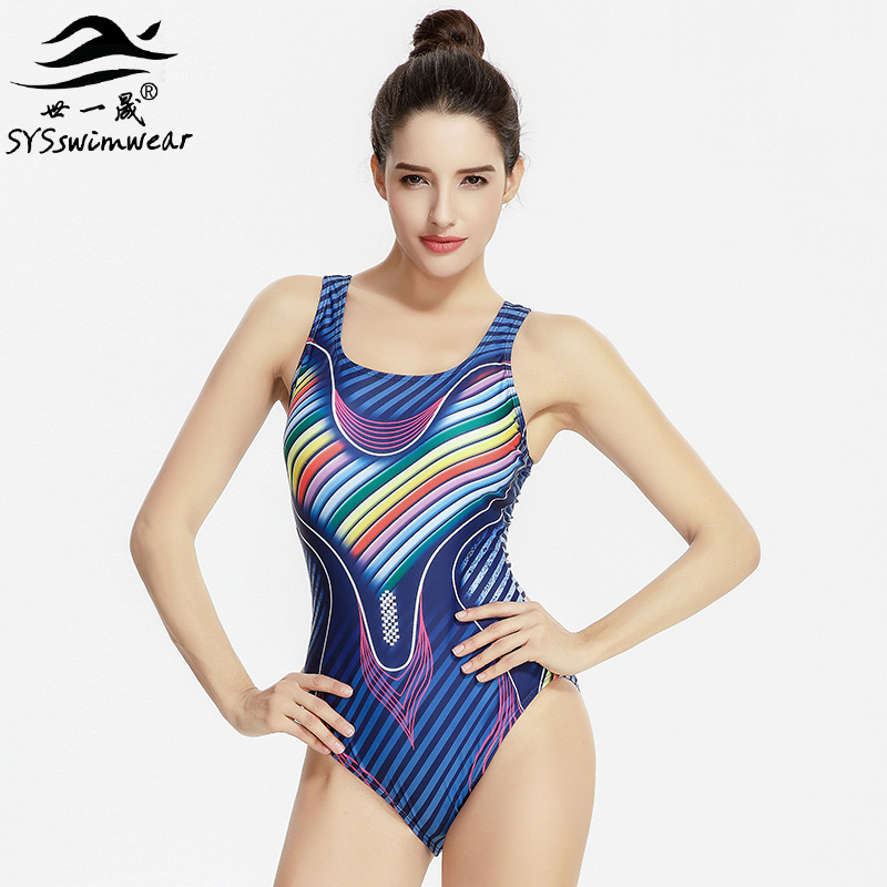 Hot Summer Pool High Quality Sexy Women One Pieces Swimwear Backless Wire Free Sport Swimsuit Geometric Striped Bathing Suit new hot sexy high quality two zipper japanese sukumizu school swimsuit one pieces slimming swimsuit women bathing suit with pad
