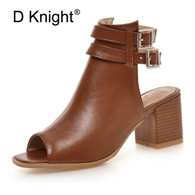 Plus Size 33-43 Fashion Women Sandals Gladiator Mid Square Heel Rome Casual Woman Shoes Solid Black Beige Brown Peep Toe Pumps fashion retro style fringe gladiator sandals women rome peep toe flats casual dress shoes woman big size 34 41 summer slipeers