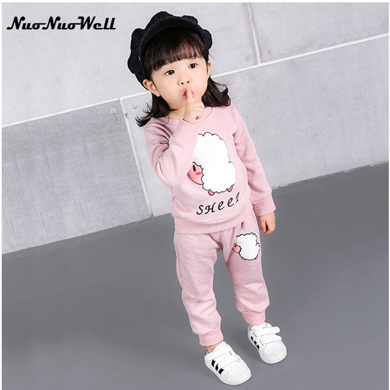 NNW Autumn Children Clothing Set Cartoon Kids Long Sleeve Soft Cotton Shirt + Full Pants 2PCS Girl Set Suit Baby Girls Clothing warm thicken baby rompers long sleeve organic cotton autumn
