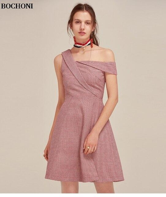 Plaid cotton diagonal collar irregular slim slimming high waist dress