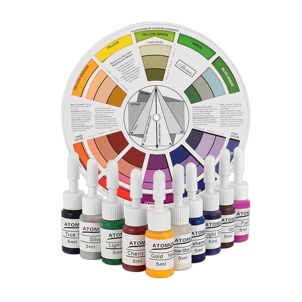 Zielsetzung Atomus Professionelle Tattoo Nagel Pigment Farbe Rad Papier Karte Mix Runde Guide Neue